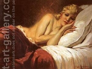 Reclining Girl by Henri Thomas - Reproduction Oil Painting