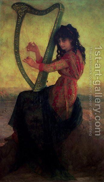 Muse Playing the Harp 2 by Antoine Auguste Ernest Hebert - Reproduction Oil Painting