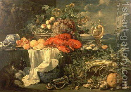 Still Life with a Monkey 1670 95 by Cornelis De Heem - Reproduction Oil Painting