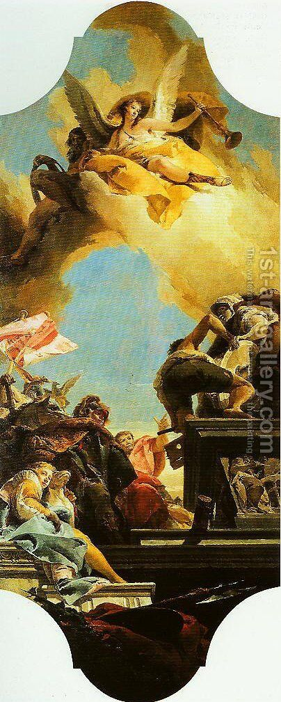 Erection of a Statue to an Emperor by Giovanni Battista Tiepolo - Reproduction Oil Painting