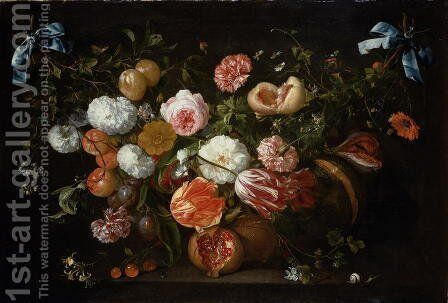 A Garland of Flowers by Jan Davidsz. De Heem - Reproduction Oil Painting