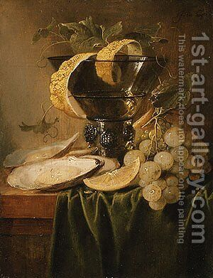 Still Life with a Glass and Oysters ca 1640 by Jan Davidsz. De Heem - Reproduction Oil Painting
