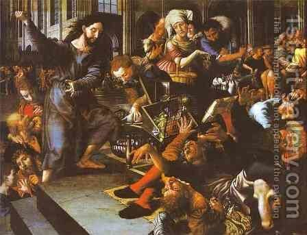 Christ Driving Merchants From The Temple 1556 by Jan Sanders Van Hemessen - Reproduction Oil Painting