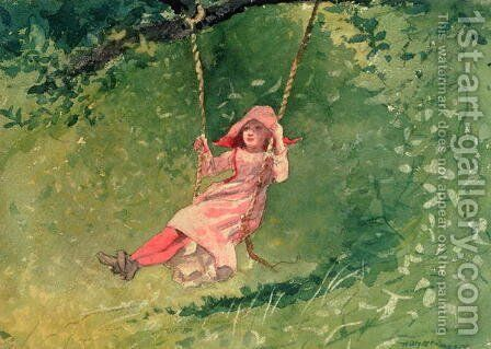 Girl on a Swing 2 by Winslow Homer - Reproduction Oil Painting