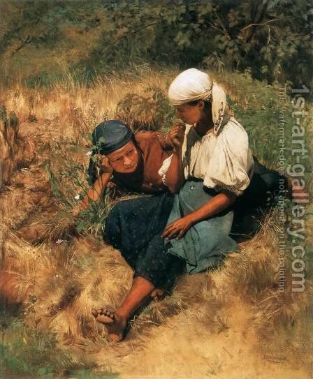 On the Sun lit Field by Gyula Aggházy - Reproduction Oil Painting