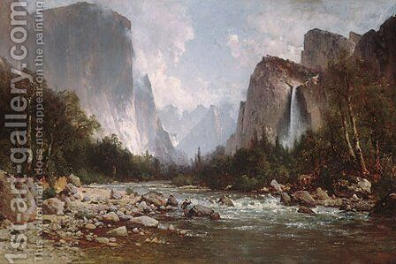 View of Yosemite Valley 1885 by Thomas Hill - Reproduction Oil Painting