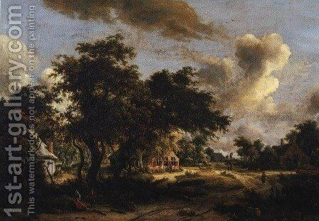 Village Among Trees 1665 by Meindert Hobbema - Reproduction Oil Painting