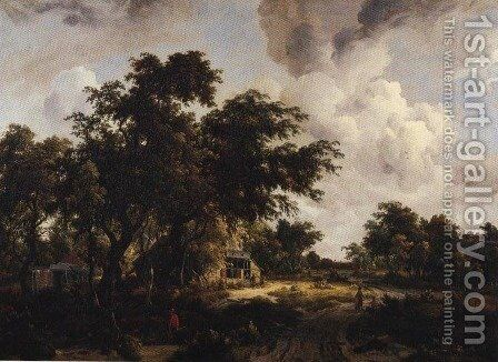 Village with Water Mill Among Tree 1660-1670 by Meindert Hobbema - Reproduction Oil Painting