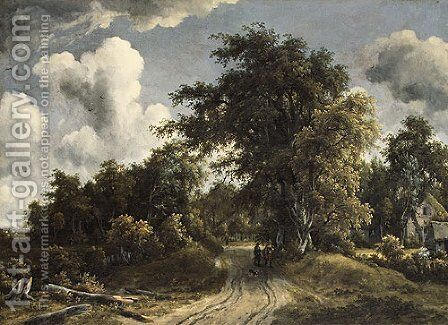 Woodland Road probably ca 1670 by Meindert Hobbema - Reproduction Oil Painting