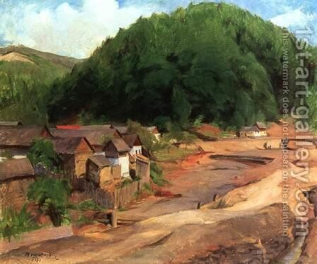 Landscape at Felsobanya 1942 by Gustave Surand - Reproduction Oil Painting