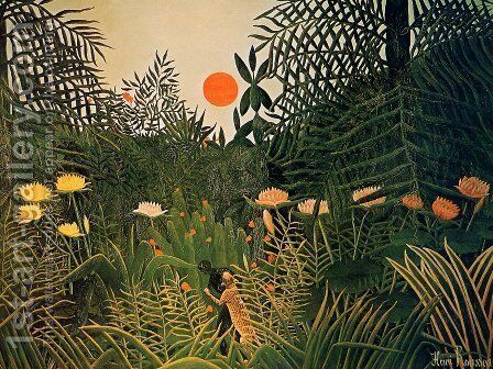 Negro Attacked by a Jaguar 1910 by Henri Julien Rousseau - Reproduction Oil Painting