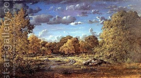 Glade of the Reine Blanche in the Fontainebleau Forest 1860 by Theodore Rousseau - Reproduction Oil Painting