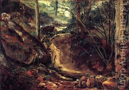 Mountain Stream in the Auverne 1830 by Theodore Rousseau - Reproduction Oil Painting