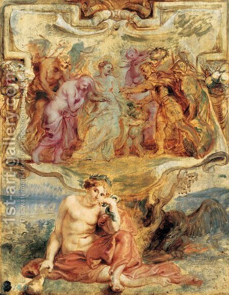 Henry IV seizes the Opportunity to conclude Piece 1628 by Rubens - Reproduction Oil Painting