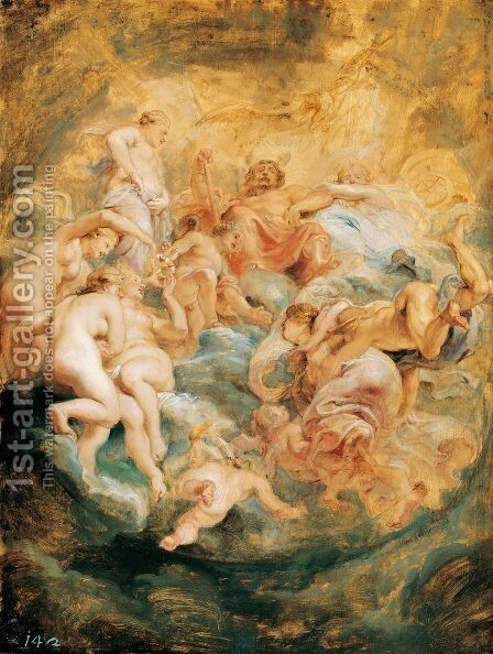 Psyche taken up into Olympus 1621 by Rubens - Reproduction Oil Painting