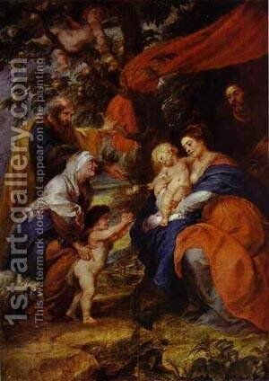 The St Ildefonso Altar (Outer Wings) The Holy Family Under The Apple Tree 1630-1632 by Rubens - Reproduction Oil Painting