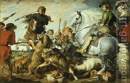 Wolf and Fox Hunt ca 1615 by Rubens - Reproduction Oil Painting