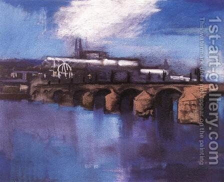 The Charles Bridge in Prague 1925 by Ary Schefer - Reproduction Oil Painting