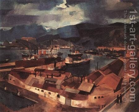 The Port of Genoa 1926 by Ary Schefer - Reproduction Oil Painting