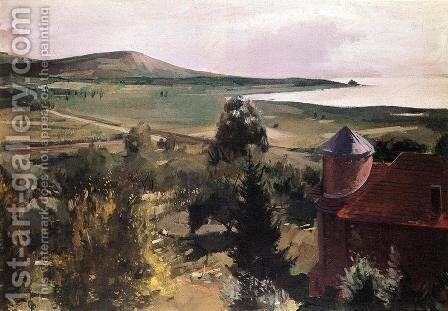 Turreted House at Lake Balaton 1953 by Ary Schefer - Reproduction Oil Painting