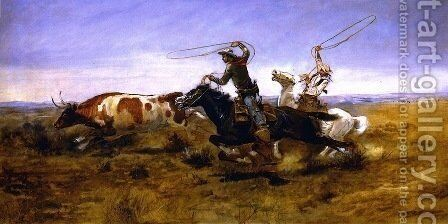 O.H.Cowboys Roping a Steer by Charles Marion Russell - Reproduction Oil Painting