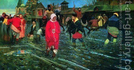 A XVII Century Moscow Street On A Holiday Detail 3 1895 by Andrei Petrovich Ryabushkin - Reproduction Oil Painting