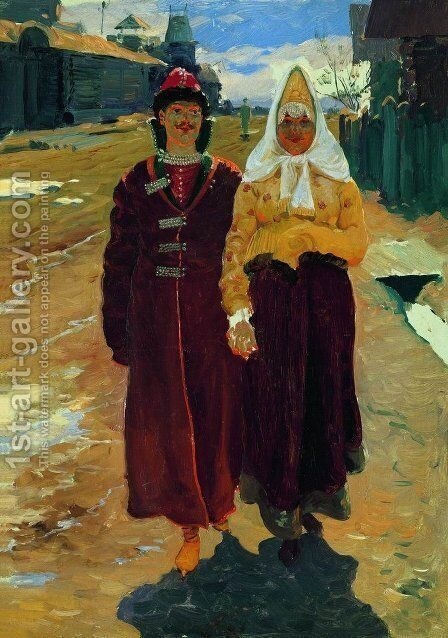 Going On A Visit 1896 by Andrei Petrovich Ryabushkin - Reproduction Oil Painting