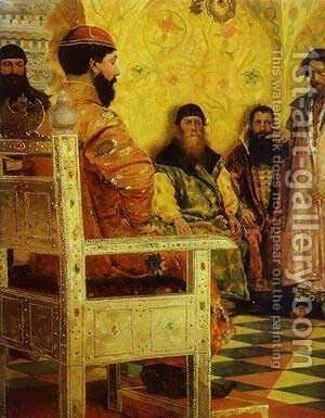 Tzar Mikhail Fedorovich Holding Council With The Boyars In His Royal Chamber 2 1893 by Andrei Petrovich Ryabushkin - Reproduction Oil Painting
