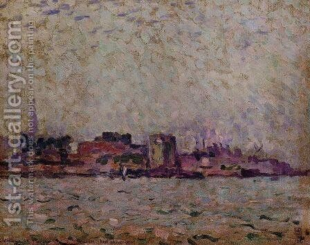 Morning Fog over the Port of Veer Holland 1906 by Theo Van Rysselberghe - Reproduction Oil Painting