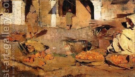 Moroccan Fruit Market 1882-1883 by Theo Van Rysselberghe - Reproduction Oil Painting