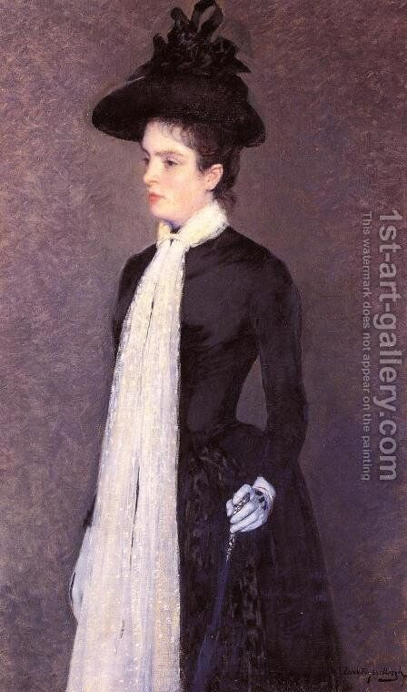 Portrait of a Woman in Black 1886-1888 by Theo Van Rysselberghe - Reproduction Oil Painting