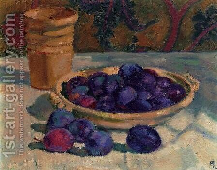 Still Life with Plums 1926 by Theo Van Rysselberghe - Reproduction Oil Painting