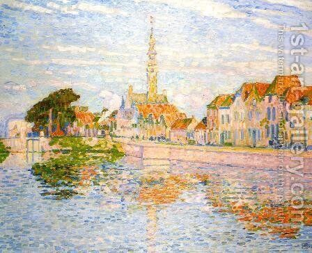 The Quay at Verre Zeeland 1906 by Theo Van Rysselberghe - Reproduction Oil Painting