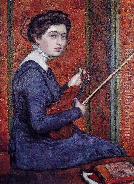 Woman with Violin (aka Portrait of Rene Druet) 1910 by Theo Van Rysselberghe - Reproduction Oil Painting