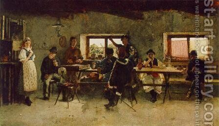 Carousing in the Tavern 1888 by Simon Hollosy - Reproduction Oil Painting