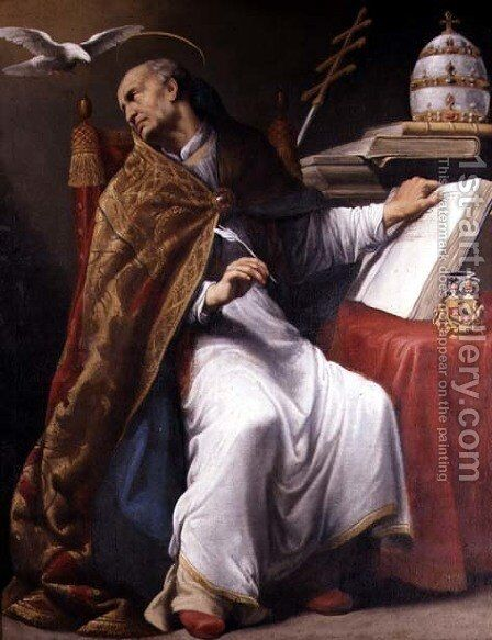 St Gregory by Andrea Sacchi - Reproduction Oil Painting