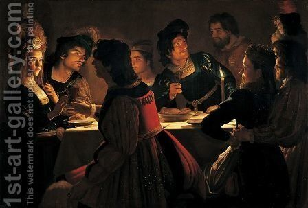 The Wedding Supper by Gerrit Van Honthorst - Reproduction Oil Painting