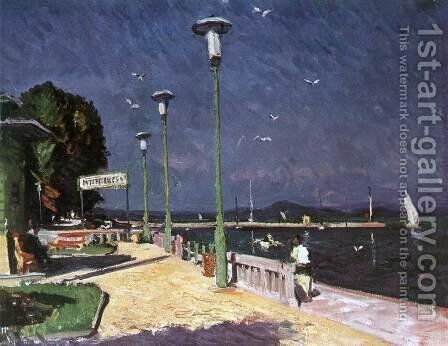 The Pier at Foldvar 1966 by Imre Amos - Reproduction Oil Painting
