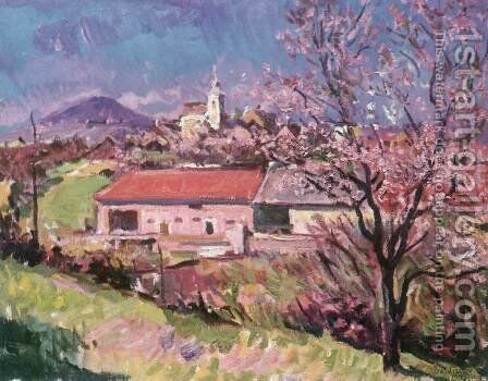 Village View at Zanka 1972 by Imre Amos - Reproduction Oil Painting
