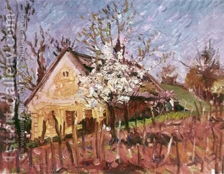 Winery House in Spring 1971 by Imre Amos - Reproduction Oil Painting
