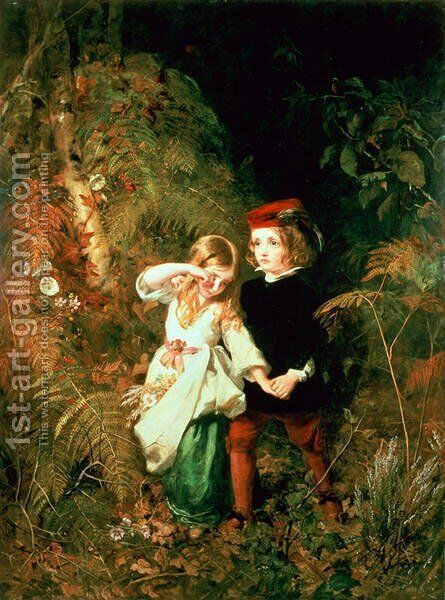 Children in the Wood by Anthony Frederick Sandys - Reproduction Oil Painting