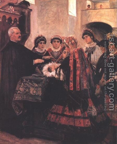 Baptism 1902 by Istvan Csok - Reproduction Oil Painting