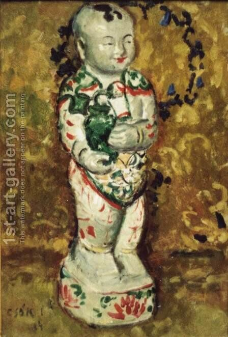 Buddha Statuette 1904 by Istvan Csok - Reproduction Oil Painting