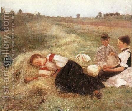 Gathering Hay 1890 by Istvan Csok - Reproduction Oil Painting