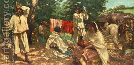 Gipsies Making Trough 1903 by Istvan Csok - Reproduction Oil Painting