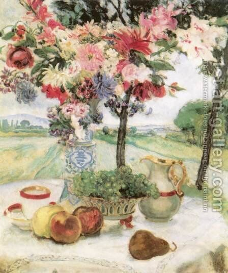 Still life with Flowers (Breakfast Table) 1913 by Istvan Csok - Reproduction Oil Painting