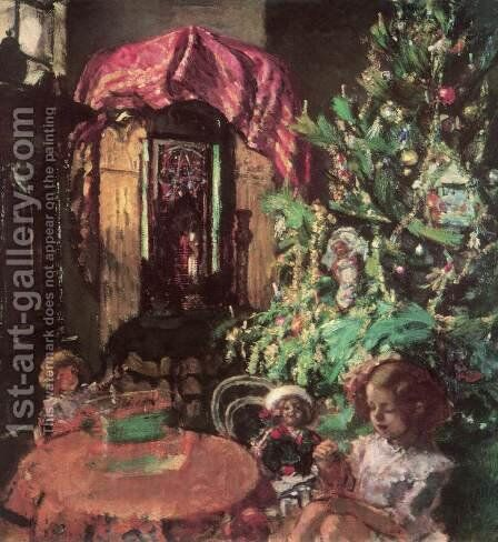 Zuzu under the Christmas Tree 1914 by Istvan Csok - Reproduction Oil Painting