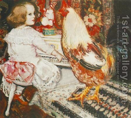 Zuzu with Cock 1912 by Istvan Csok - Reproduction Oil Painting