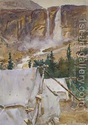 Camp and Waterfall 1916 by Sargent - Reproduction Oil Painting