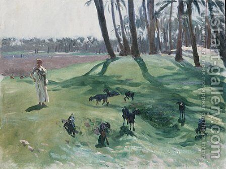 Landscape with Goatherd by Sargent - Reproduction Oil Painting